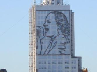 Evita Perons monument at the 9 July Avenue in BA City at down town Buenos Aires City tours Buenos Aires